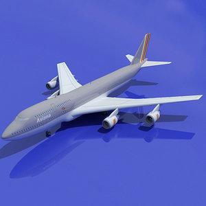 b 747 asiana 3d model