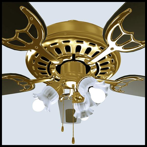 decorative fan 3d obj