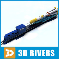3d model rocket train soyuz