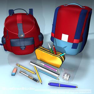 backpack school tools 3d model