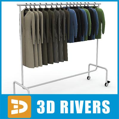 3dsmax metal clothes display rack