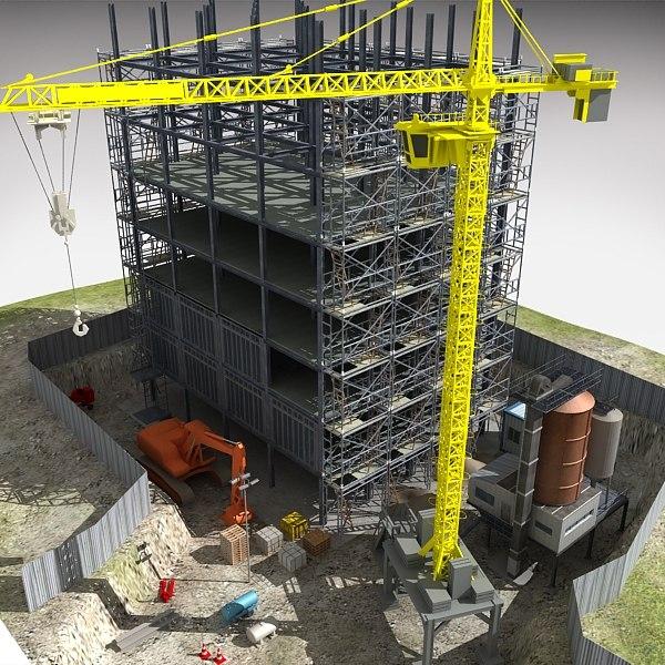 construction complex 3d model