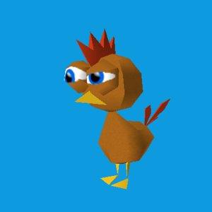 funny cartoon chicken 3d model