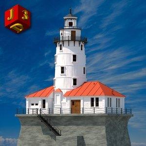 3d lighthouse artificial rock model