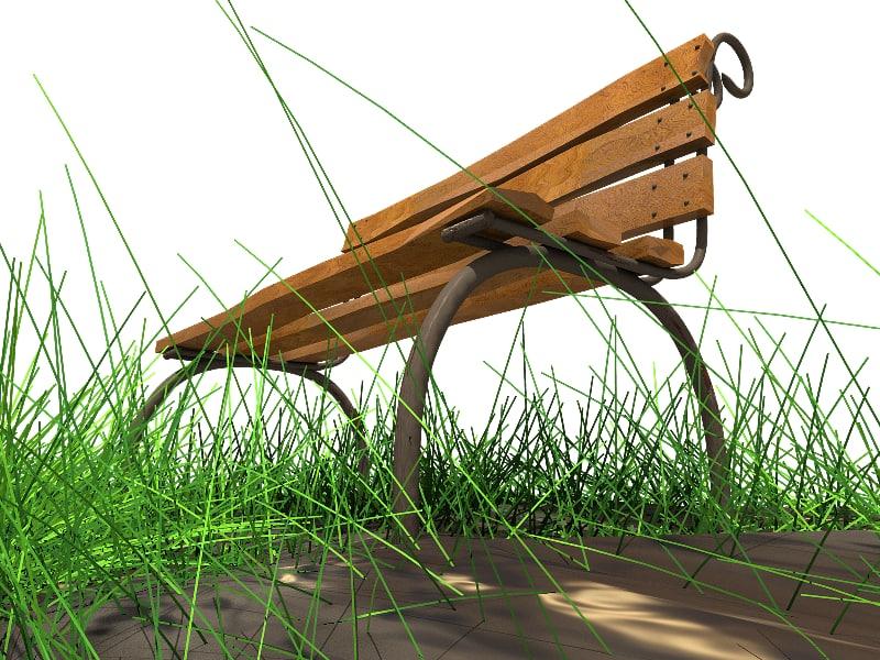 3d bench metal wood model