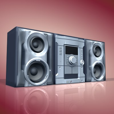 3d model stereo music set