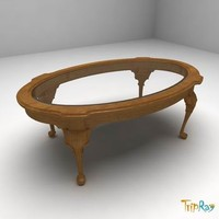 Oval coffee table with a glass desk
