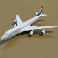 b 747 south african 3d model