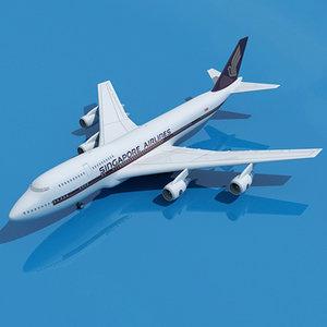 b 747 singapore 3d model