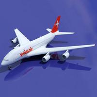 airbus a380 swiss air 3d 3ds