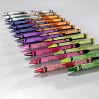 3d 24 crayons colored model