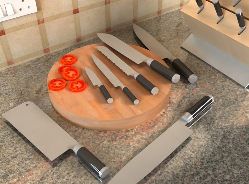 3d knives stand model