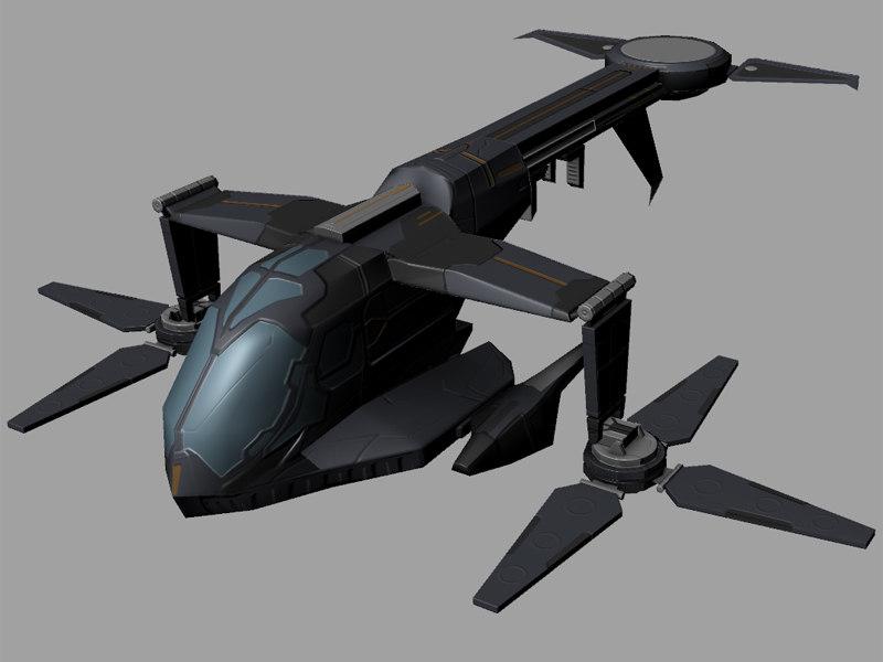 cargo dropship sci-fi obj