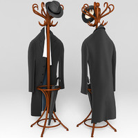 Coat rack with clothes