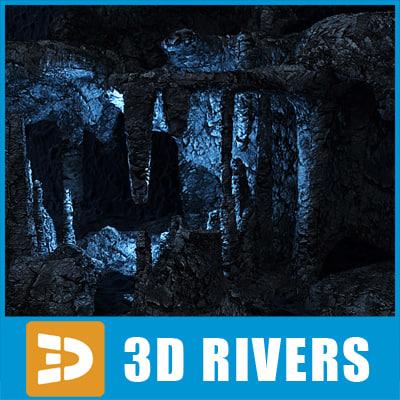 underwater rock cave grottos 3d max