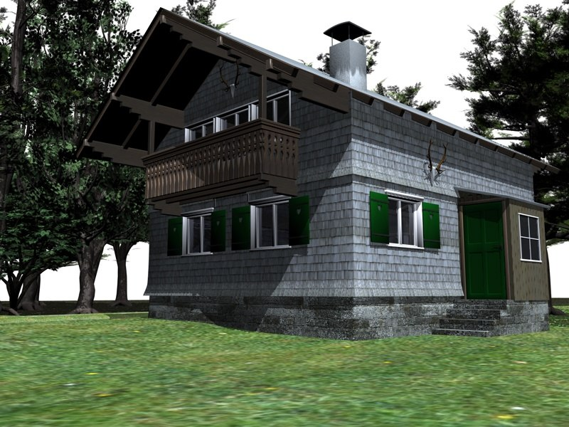 3d bavarian hunting lodge house model