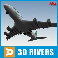 airbus a380 green red 3d fbx