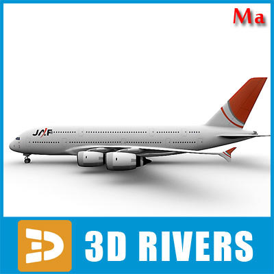 3d airbus a380 red tail
