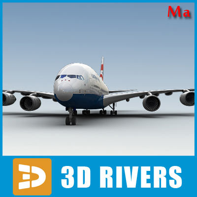 airbus a380 red blue 3d x