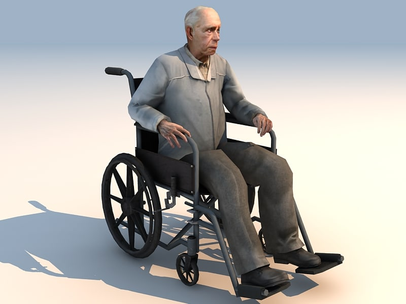 wheelchair invalid character 3d model