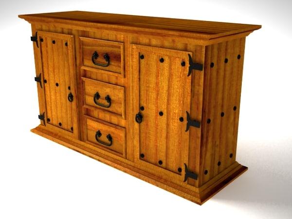 rustic aparador furniture 3d model