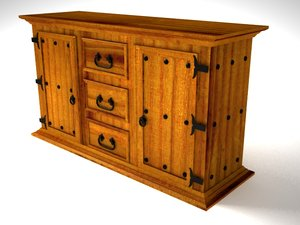 rustic aparador furniture 3d model
