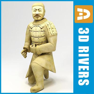 statue sitting terracotta 3d model