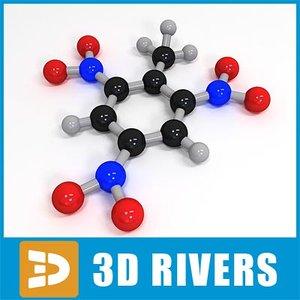 3d trinitrotoluene molecule structure model