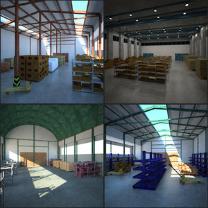 3d 4 equiped warehouses model