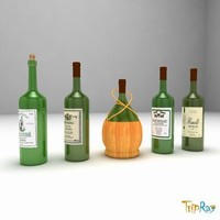 Set of 5 wine bottles