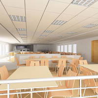 3ds max interior cafeteria