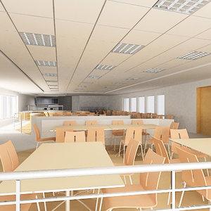 3ds max interior cafeteria