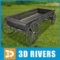 3d model dray wagon