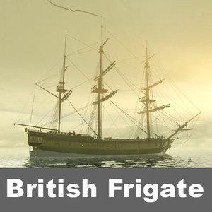 hms cerberus british frigate 3d model