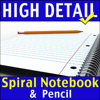 3d school spiral notebook pencil