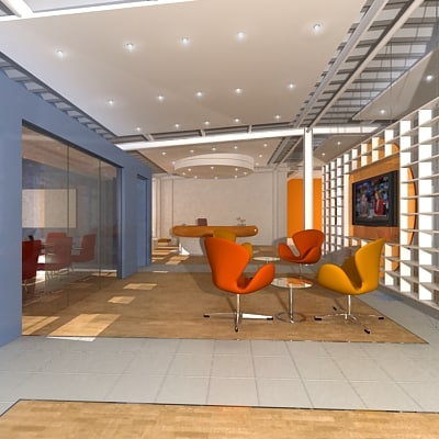 office interior reception 3d model