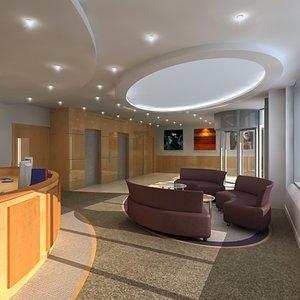 office reception interior scene 3d model