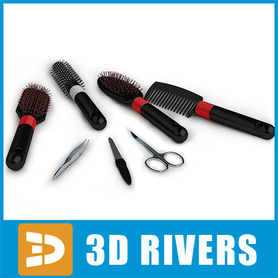set manicure hairbrushes 3d model