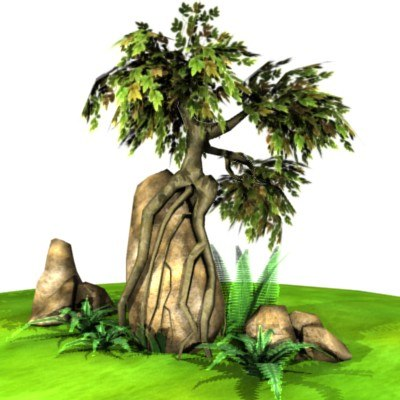 3d low-poly set rocks tree fern model