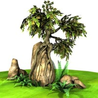 3d low-poly set rocks tree fern model