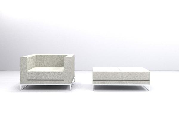 contemporary sofa bench 3d model
