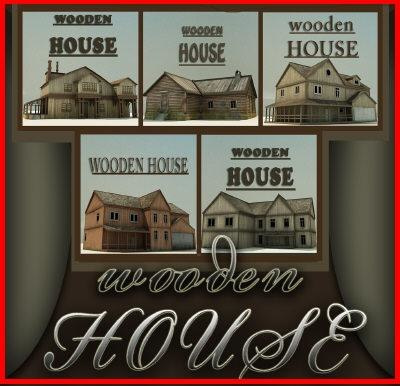 3d wooden houses homes