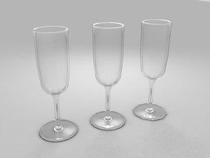 3d model 3x wine glasses