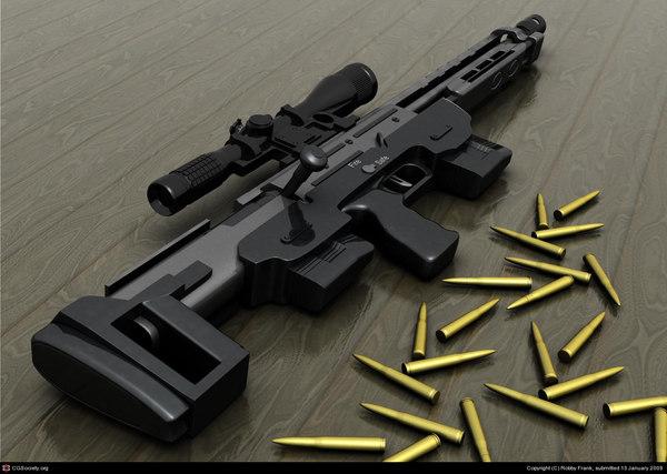 photoreal sniper-rifle dsr bullet 3d model