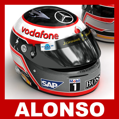 fernando alonso f1 helmet 3d model