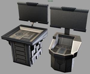 3d sci-fi kiosk stations