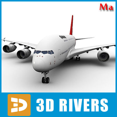 3d model airbus a380 red kangaroo