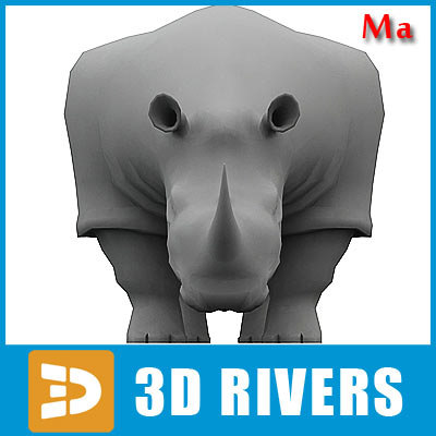 3d polygonal rhinoceros