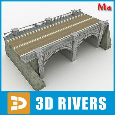 arched stone bridge fbx