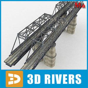 reinforced concrete bridge trains 3d ma